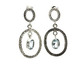 Blue Topaz Earrings, 925 Sterling Silver, Unique only 1 piece available! color blue, weight 4.5g, #24909