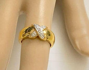22K Gold Vermeil Sterling Silver Diamond Accent X Ring - Size 7.5