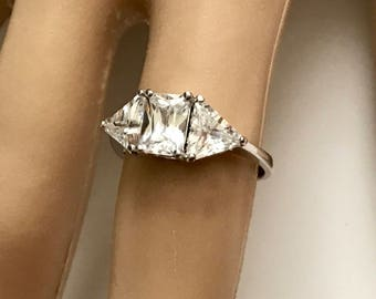 Vintage Emerald Cut w/Trillions Simulated Diamond cz Sterling Silver Engagement Style Ring - Size 7.5
