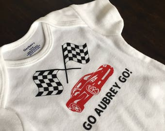 Racecar Baby Onesie - Customizable name and colors, perfect for baby gifts and baby showers, baby girl, baby boy, girl power, baby girl gift
