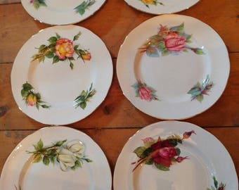 Set of 6 Vintage Paragon Harry Wheatcroft China World Famous Roses Series Medium Salad Dessert Plates