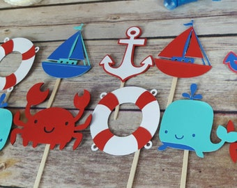 12 Nautical Cupcake Toppers, Sail Boat Cupcake Toppers