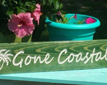 "Wood Beach House Sign ""Gone Coastal"" with Palm Trees"