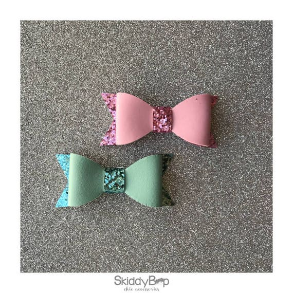 Faux Leather Bow with Glitter