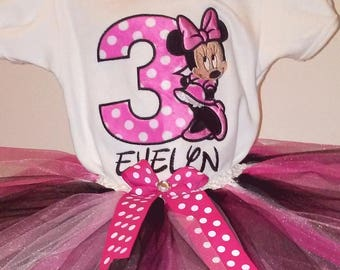 Pink Minnie Mouse 3rd Birthday Outfit Minnie Mouse Birthday Shirt Minnie Mouse Birthday Outfit Minnie Mouse Girls Birthday Outfit Shirt