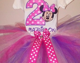 Pink Purple I'm Twodles Minnie Mouse 2nd Birthday Outfit Bodysuit Tutu FREE Hair Bow Personalized