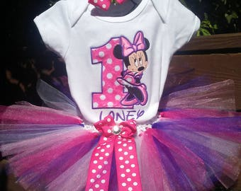 Hot Pink Purple Minnie Mouse 1st Birthday Outfit Bodysuit Tutu FREE Hair Bow Personalized