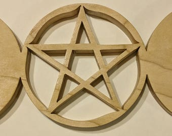 "Triple moon pentagram 14 1/2"" x 6"""