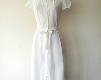 Vintage 1970s sheer white cotton lace collar dress