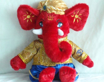 """Ganesh Elephant Baby Gift, Baby Girl, Baby Boy, Stuffed Toy, Unique Baby Gift, 10"""" Good Luck Gift, Yoga Gift, baby christmas gift"""