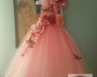 10% off EOS sale Pink flower girl dress, pink fairy dress, fairy costume, flower girl dress, Pink tutu dress, Toddler flower girl, girls' dr