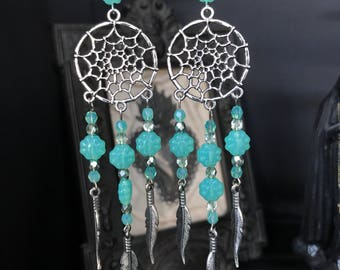 dreamcatcher earrings mint beads and feathers