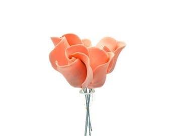 Peach Color Rose Buds set of 5 for sugar flower arrangements, fondant gumpaste flower wedding cake toppers, cake decorations, filler flowers