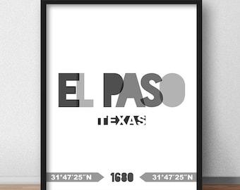 El Paso Print, El Paso Printable, El Paso Poster, El Paso Wall Art, El Paso Coordinates, El Paso Minimalist, El Paso Poster (W0224)