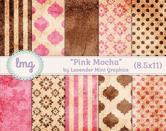 "Pink and Brown Digital Journal Papers - ""Pink Mocha"" - Polka Dots, Damask, Floral, Vintage, Shabby Chic, Aged Papers, Instant Download, CU"
