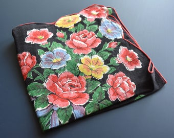 Vintage MidCentury Black and Red Floral Handkerchief in Bold and Vibrant Colors