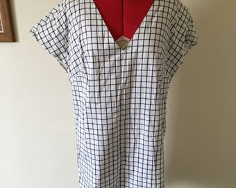 White and navy check cotton summer dress