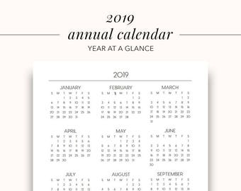 2019 Annual Printable Planner Page, Planner Inserts, Annual 2019, Printable Calendar, Year At A Glance Printable