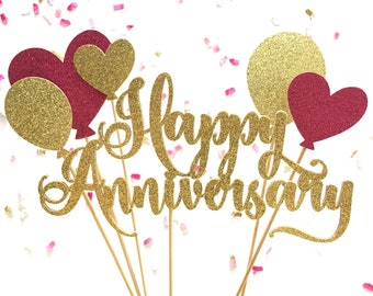 Happy Anniversary & Balloons Pink/Gold Glitter Cake Topper | Anniversary Party Decor | Glitter Heart Balloon Cake Accessory
