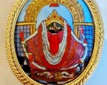 hindu goddess kali of kalighat, enamel silver plaque in goldtone frame