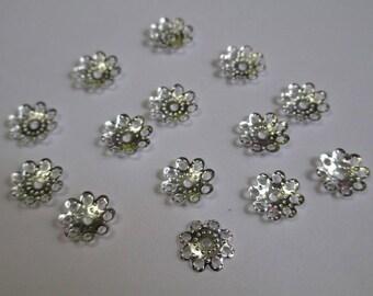 50 bead caps, metal filigree flower silver 10mm