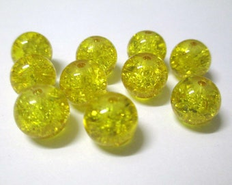 10 yellow Crackle Glass (S-2) 10mm beads