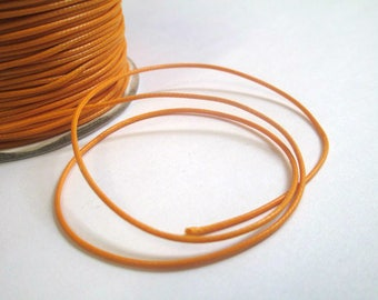 5 m thread cord waxed saffron yellow polyester 1 mm