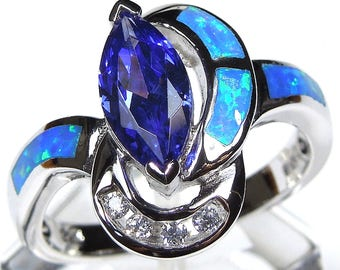 Marquise Tanzanite & Blue Fire Opal Inlay 925 Sterling Silver Ring size 6,8,9