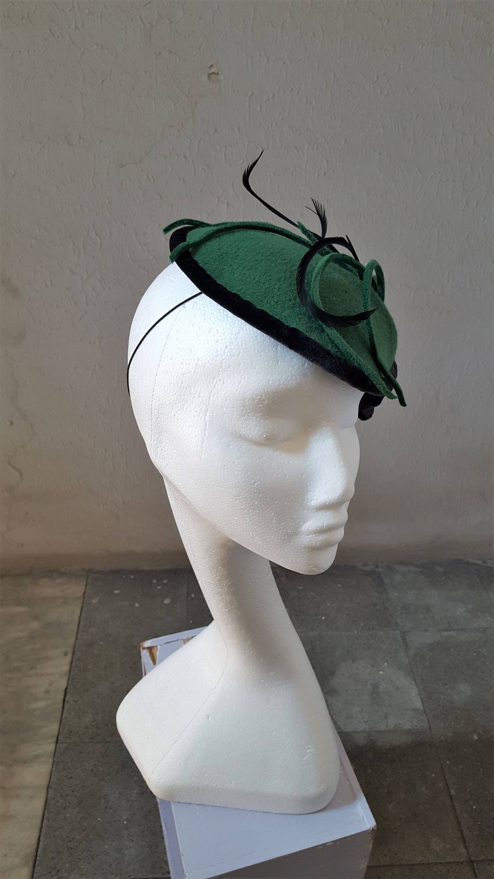Green And Black Felt Fascinator Velvet And Feathers St