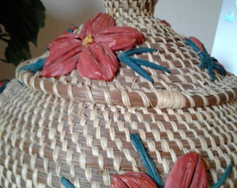 2 pc pine weaved basket