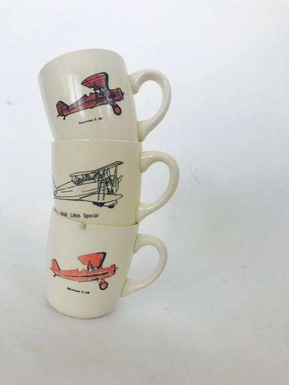 Vintage Plane Mug Set