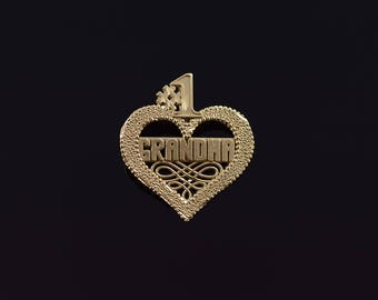 14k #1 Number One Grandma Grandmother Mama Heart Charm/Pendant Gold