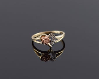 Diamond** Heart Cut Out 3D Rose Promise Ring Size 7 Gold