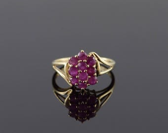10k 0.75 CTW Ruby Cluster Ring Gold