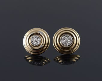14k 16mm Tiered Diamond Circle Stud Earrings Gold