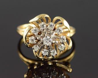 14k 0.40 Ctw Diamond Floral Motif Vintage Ring Gold