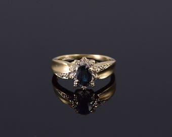 10k 0.52 Ctw Sapphire Diamond Oval Starburst Halo Ring Gold