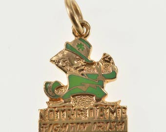 14K Green Enamel Notre Dame Fightin' Irish Charm/Pendant Rose Gold