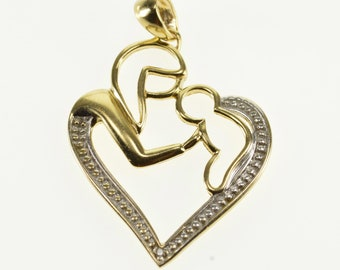 10k Mother Child Abstract Sihlouette Heart Charm/Pendant Gold