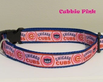 Cubbie Pink Dog Collar Chicago Cubs