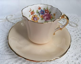 Hammersley and Co. Bone China Tea Cup and Saucer, Peach with Colourful Floral and Gold Trim