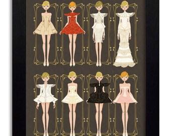 House of Worth - Fashion Illustration Print Fashion Print Fashion Art Fashion Wall Art Fashion Poster Fashion Sketch Art Print