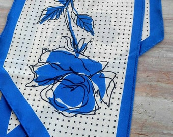 PRETTY Blue Rose Signed Vera Neumann Neck Scarf-Bandana-Hair Bow-Belt-Satin-Rare-Skinny-Thin-All Orders Only 99c Shipping!!
