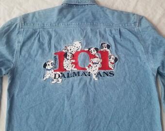 Disney's 101 Dalmations Denim Blue Jean Long Sleeve Shirt - Small Mens S
