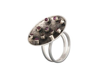 Purple Stone Ring, Sterling Silver Ring, February Birthstone Ring, Gemstone Ring, Amethyst Ring,Women's Day Gift, Gift for Her, Antique Ring