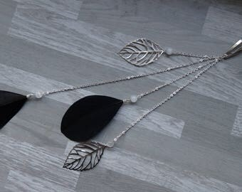 Black, white and silver hair jewelry