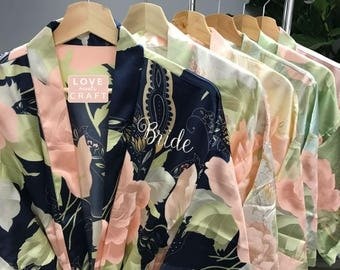 Bridesmaid Blossom Floral Robes 2, Personalized Satin Robes Wedding Bridal Shower Party Gift Bride Silk Robes Monogram Robes