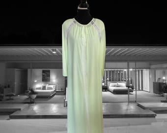 Vintage 1960s Lingerie Gossard Artemis Peignoir Set Lemon Lime Nylon and Lace Two Piece Goddess Set Full Length Robe Nightgown Size Medium