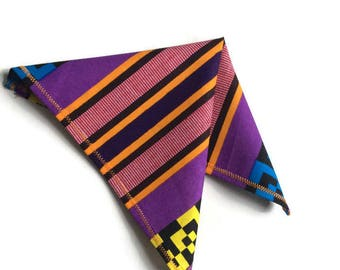 Purple Orange Kente Handkerchief, African Print Pocket Square, Wedding Groomsmen Favour Gift