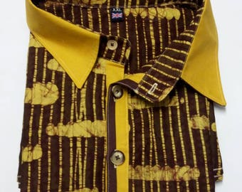 Plus Size XXXL Coffee Brown Batik Shirt, Mens African Clothing, Short Sleeve Batik Top